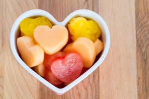 Heart shaped fruit in heart shaped bowl
