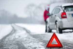Car stranded in the winter snow