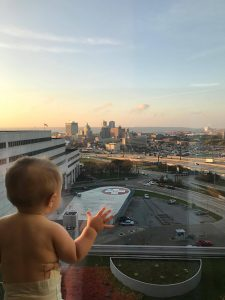 While in Peoria for a follow-up visit for his kidney, Cory snapped this picture of Mason looking out at the city from the window of OSF HealthCare Children's Hospital of Illinois.