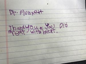 Ka'Mario wrote this note to Dr. Plunkett thanking him after his heart surgery