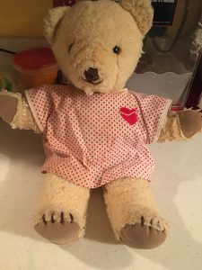 A teddy bear April was given at the age of 4 after congenital heart surgery
