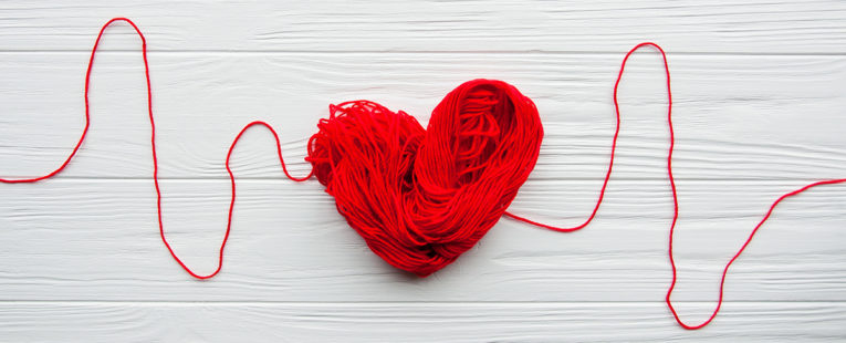 heart made of yarn