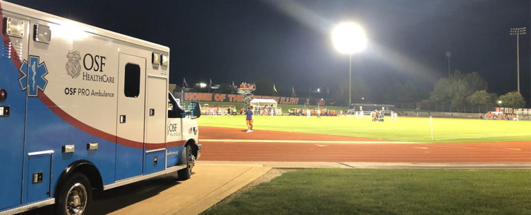 OSF PRO Ambulance at a University of Illinois football practice