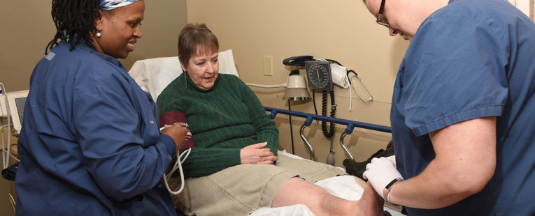Sandi Schneider receives wound care treatment at OSF Saint Anthony