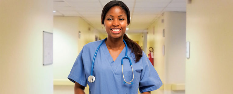 African-American female nurse in an OSF HealthCare magnet hospital