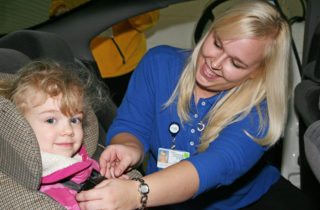 A car seat check at OSF Children's Hospital of Illinois
