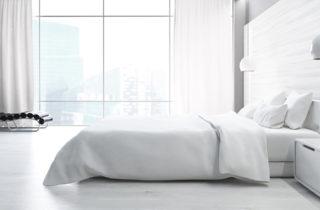 apartment bedroom in white modern design