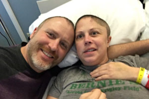 John and Amber Thomas at OSF HealthCare Saint Francis Medical Center. Amber was in the hospital for 75 days after a devastating stroke. She had several surgeries, including a craniectomy, a procedure where part of the skull is temporarily removed to relieve pressure from brain swelling.