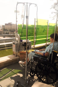 Kaleb resting in OSF Healthcare's rooftop garden