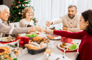 family enjoying holiday meal