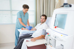 Hemodialysis patient receiving dialysis treatment