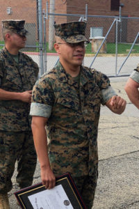 Osvaldo Ramirez receiving promotion in U.S. Marine Corps