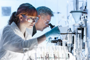 laboratory technicians working on clinical trials