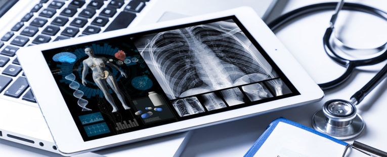 Tablet with health information used for Virtual Advanced Care.