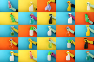 Multiple panel image of common household cleaning products