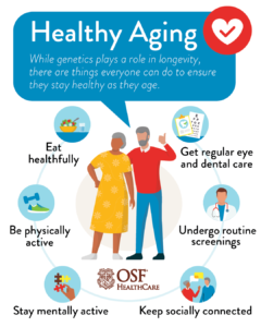 Infograph of a senior man and womanfor providing healthy aging tipsaging tips