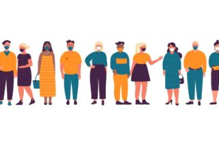 Illustration of masked diverse people of all body sizes.
