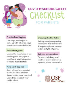 COVID-19 safety checklist for parents - infographic