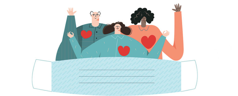 Illustration of 3 happy people with heart graphics blanketed by a mask