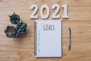 """open notebook with """"Goals"""" and a nubered list sits below """"2021"""" on a desk with succulents"""