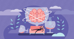 image of a man on a couch showing his brain swirling due alcohol