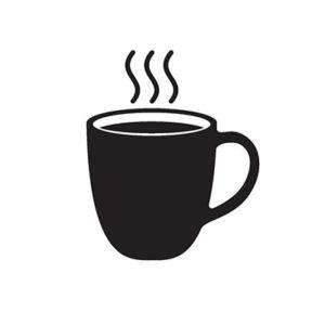 Illustration of a steaming coffee mug.