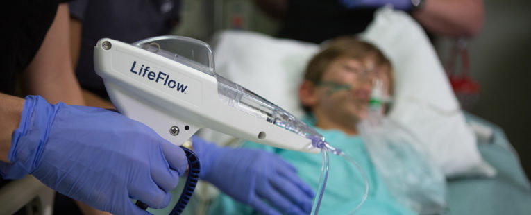 LifeFlow fluid delivery system in use with pediatric patient