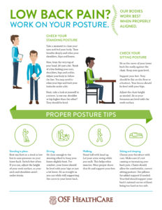 Graphic with tips for lower back pain