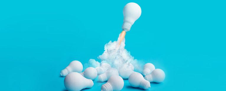 Illustration of a lightbulb taking off like a rocket.