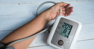 Blood pressure gauge show Hypertension or very high blood pressure, this may cause damage to the stage death