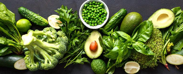 Fresh leafy green vegetables.