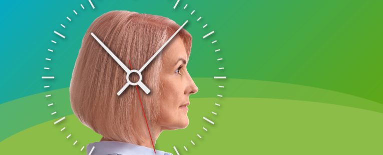 woman's profile with a clock overlay