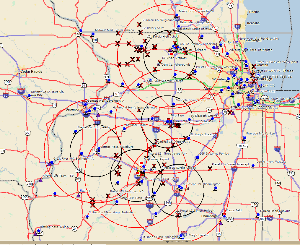 OSF Life Flight Coverage Map