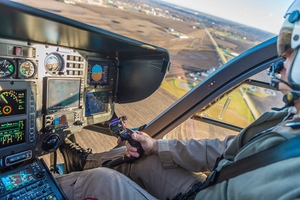 OSF Life Flight pilot in cockpit