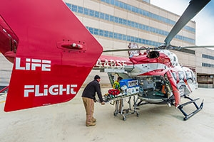 OSF Life Flight helicopter