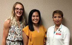 Pictured from left to right are tuition assistance recipients Justyana Ratajczak and Gillian Buendia with Pat Torrico, Chief Nursing Officer of OSF HealthCare Saint Elizabeth Medical Center.